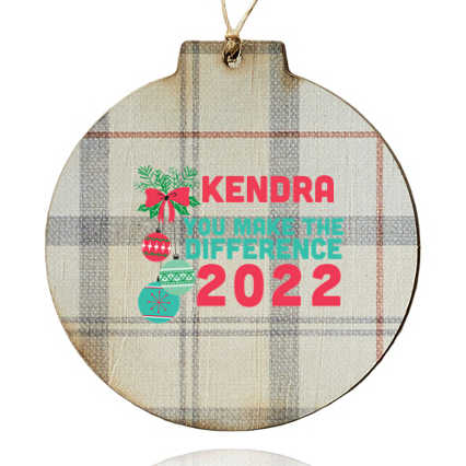 Custom Collection: Holiday Traditions Wooden Ornament - Gray Plaid