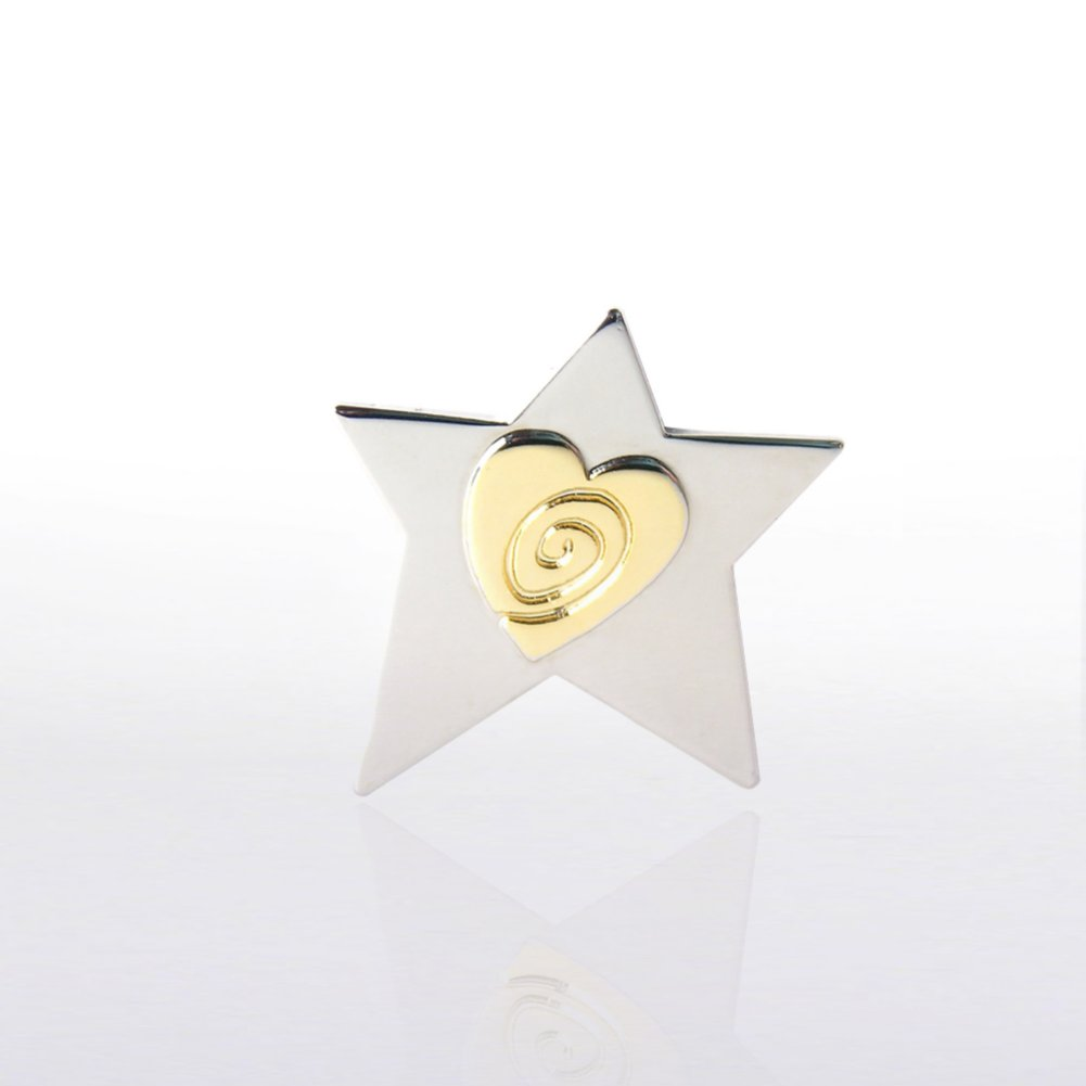 Lapel Pin - Two-Tone Star with Heart and Swirl