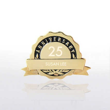 Personalized Anniversary Lapel Pin - Black