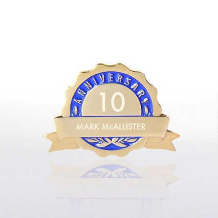 Personalized Anniversary Lapel Pin - Blue