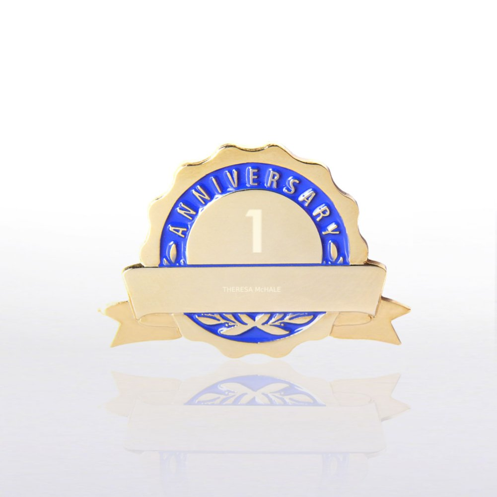 View larger image of Personalized Anniversary Lapel Pin - Blue