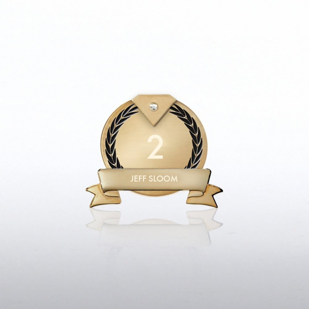 View larger image of Personalized Anniversary Lapel Pin - Diamond Laurels