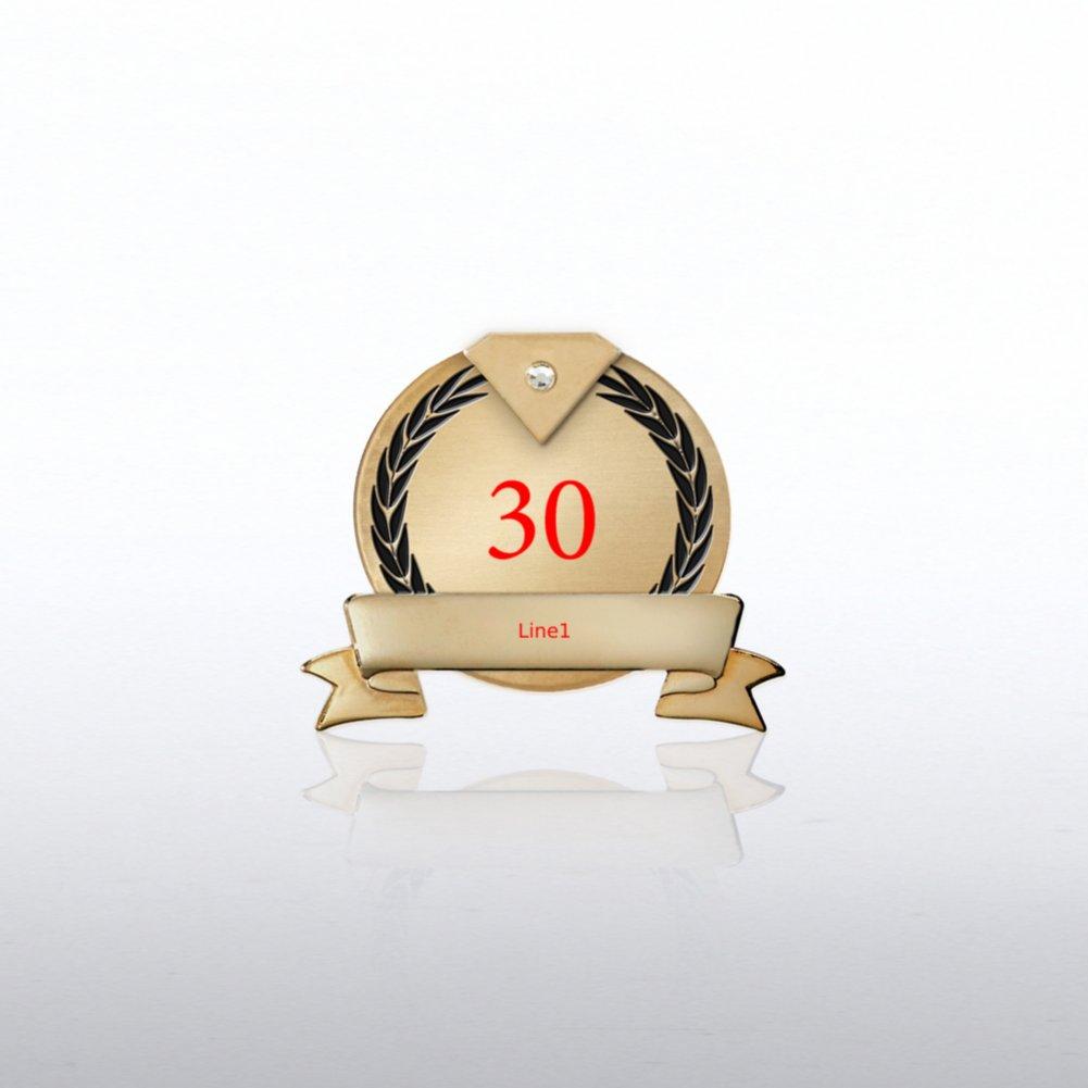 Personalized Anniversary Lapel Pin - Diamond Laurels