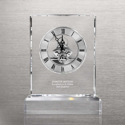 Executive Crystal Skeleton Clock - Silver
