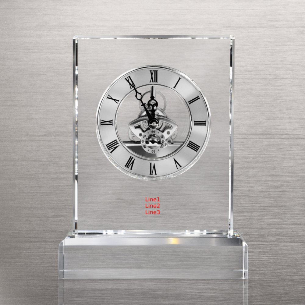 View larger image of Executive Crystal Skeleton Clock - Silver