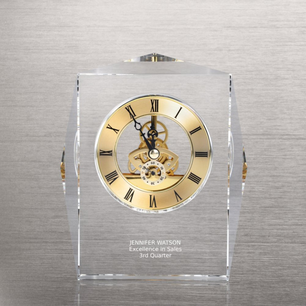 View larger image of Executive Crystal Skeleton Clock - Gold