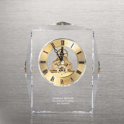 Executive Crystal Skeleton Clock - Gold