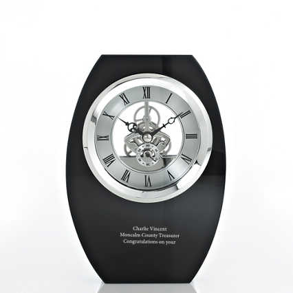 Executive Crystal Skeleton Clock - Black Tower