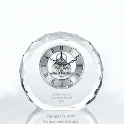 Executive Crystal Skeleton Clock - Beveled Circle
