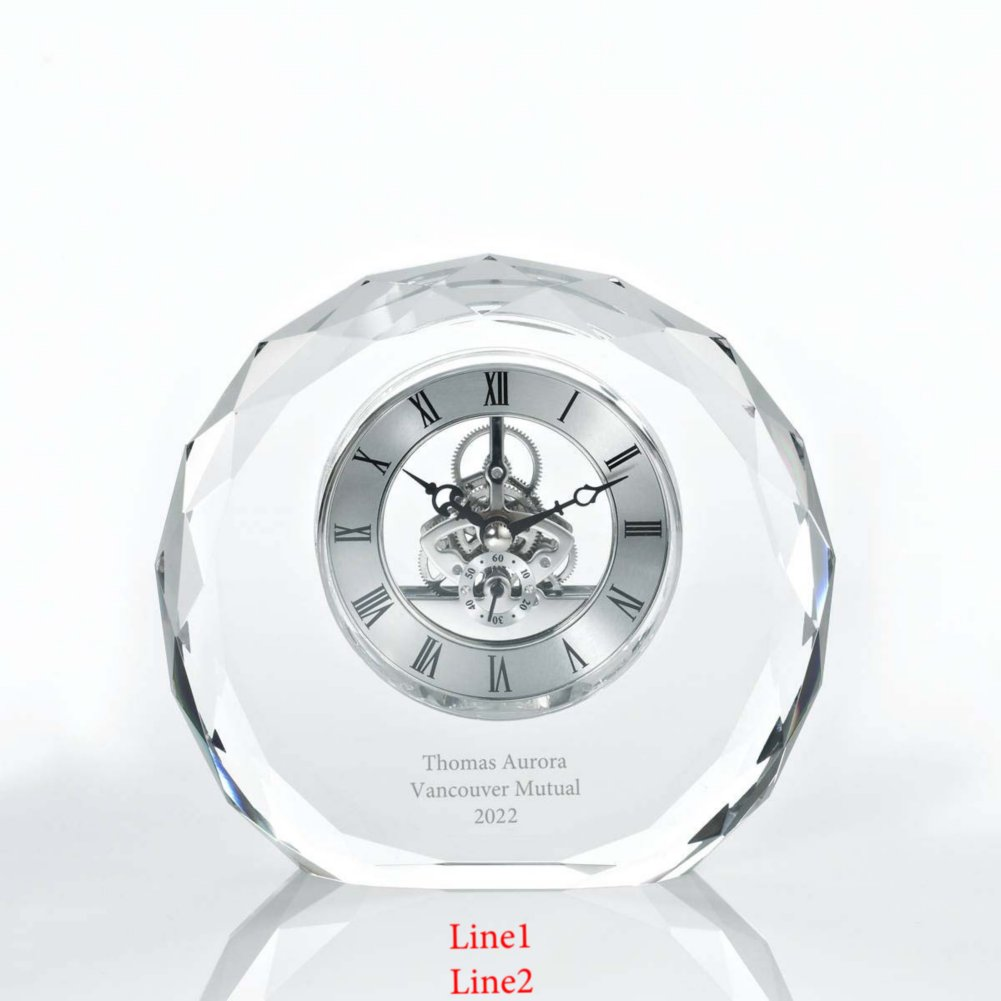 View larger image of Executive Crystal Skeleton Clock - Beveled Circle