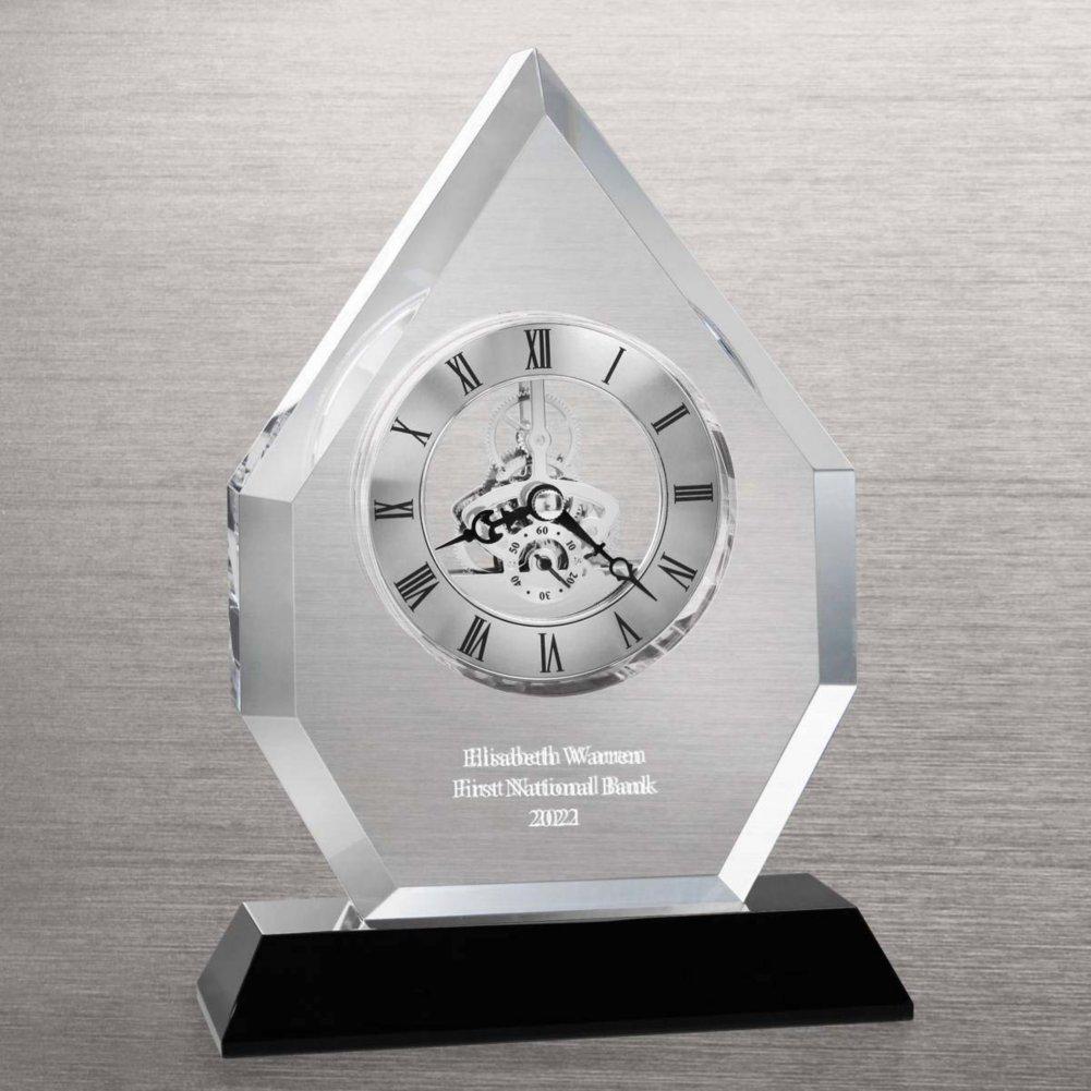 View larger image of Executive Crystal Skeleton Clock - Beveled Flame