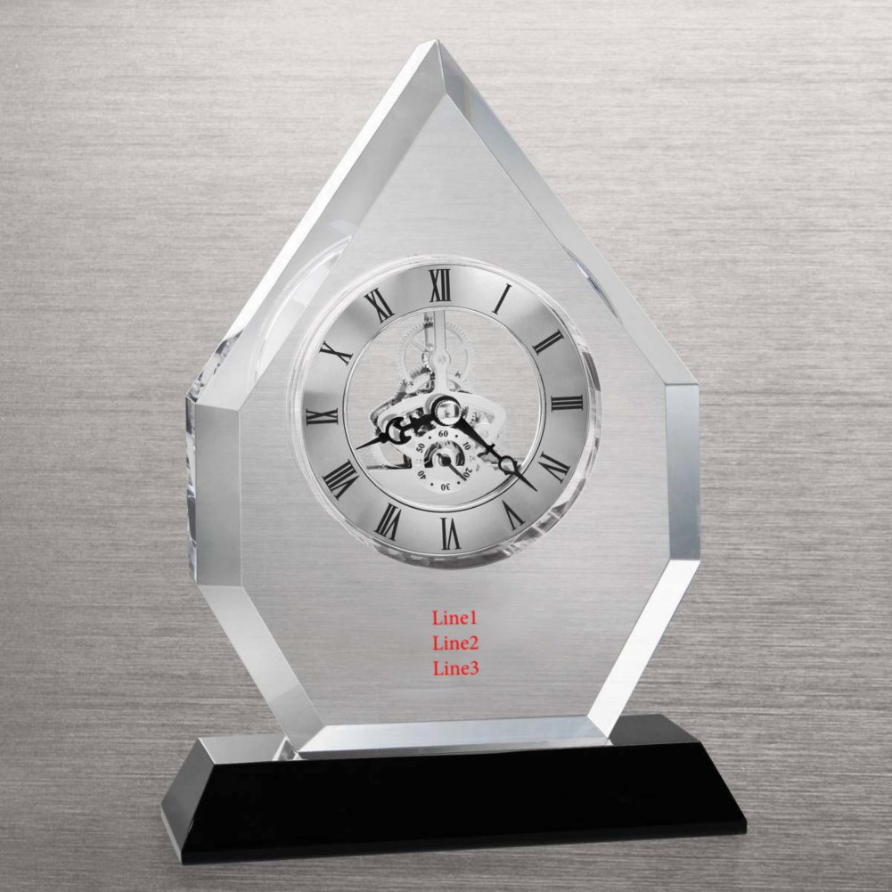View larger image of Executive Crystal Skeleton Clock - Beveled Flame