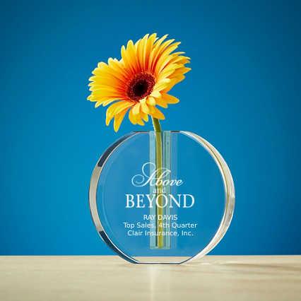 Budding Praise Crystal Vase Award