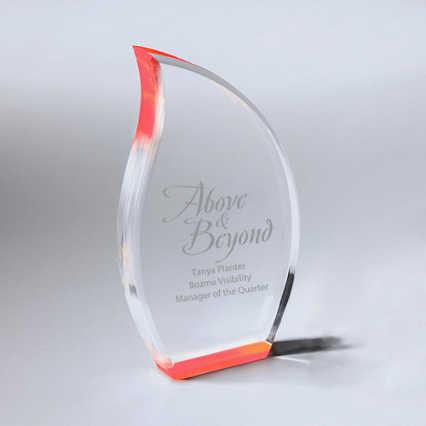 Neon Glo Acrylic Trophy - Flame