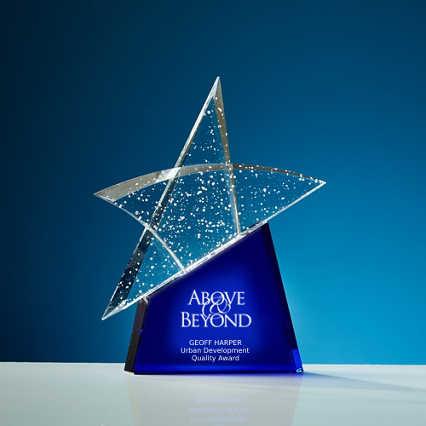Glistening Praise Crystal Award - Star