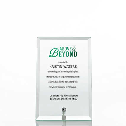 Limitless Collection: Mini Glass Award Plaque - Clear