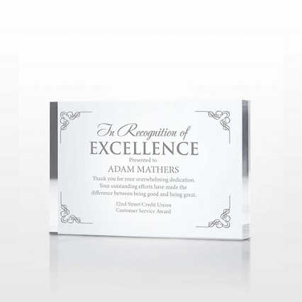 Noteworthy Service Acrylic Award Plaque - Small