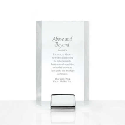 Chrome Accented Acrylic Trophy - Rectangle