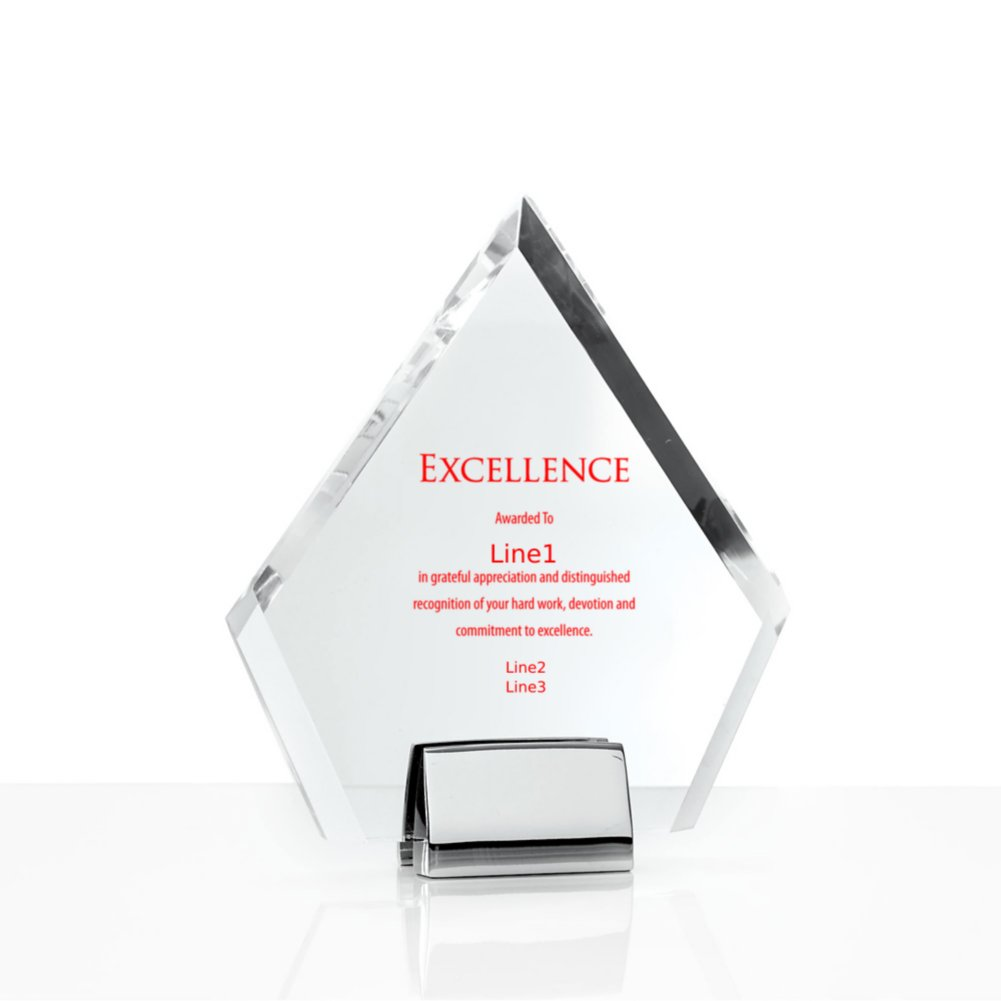 Chrome Accented Acrylic Trophy - Diamond