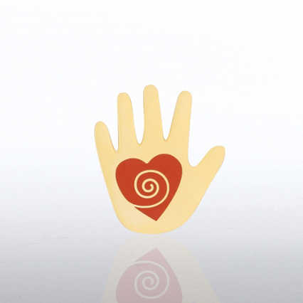 Lapel Pin - Helping Hand Red Heart