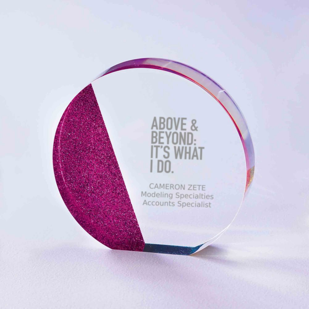 View larger image of Full of Luster Acrylic Glitter Accented Trophy - Circle