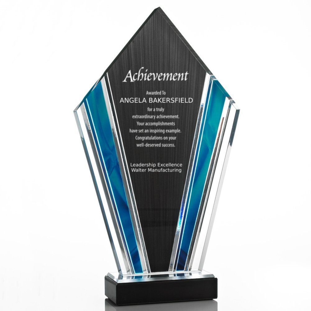 View larger image of Elite Acrylic Art Deco Trophy in Sapphire Wave