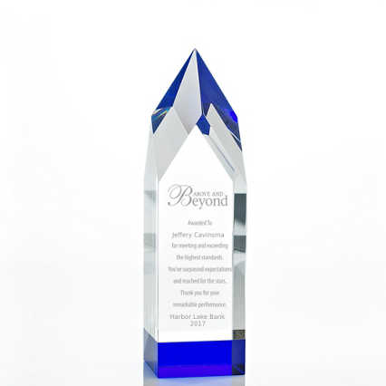 Royal Blue Crystal Accent Trophy - Tower