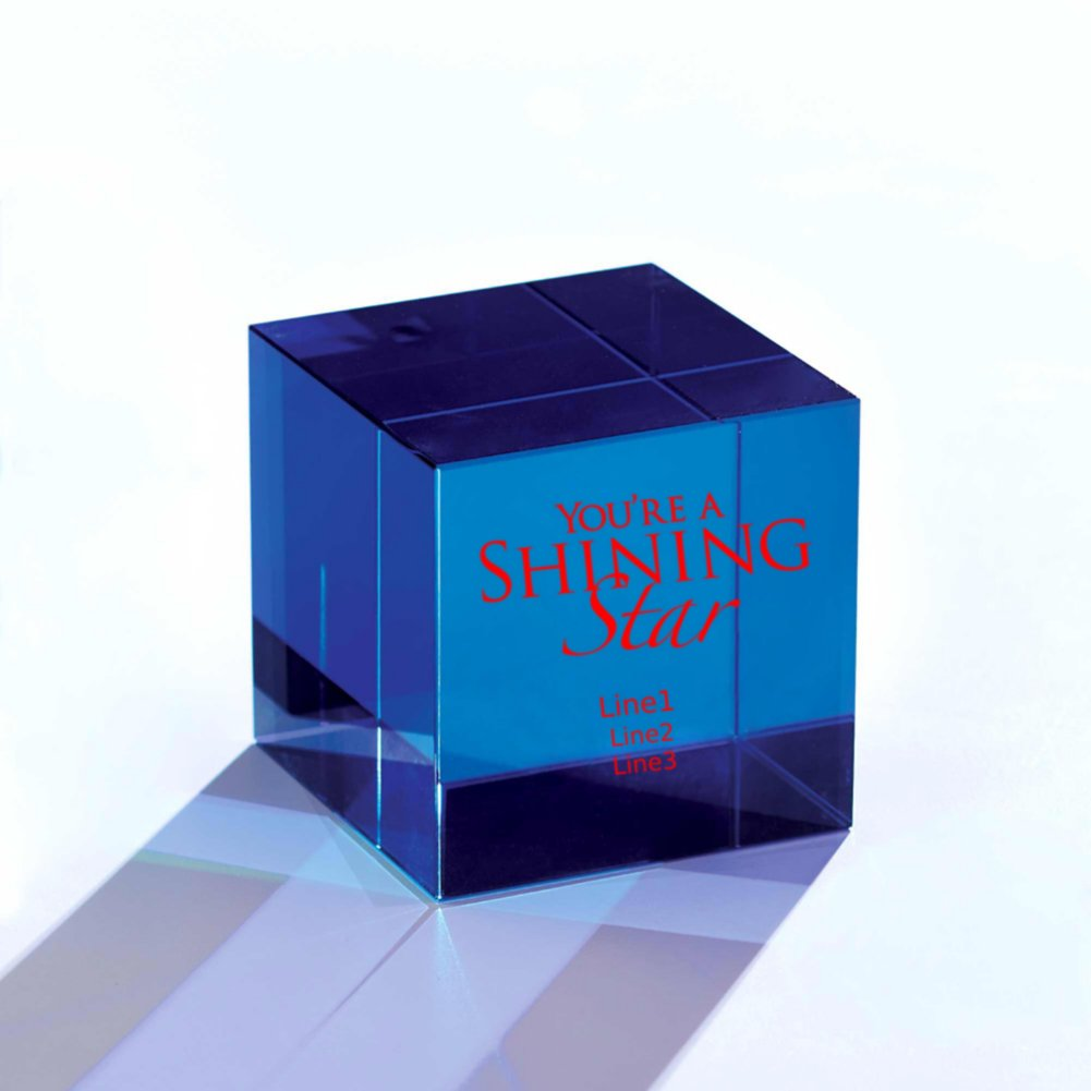 Crystal Block Trophy - Blue