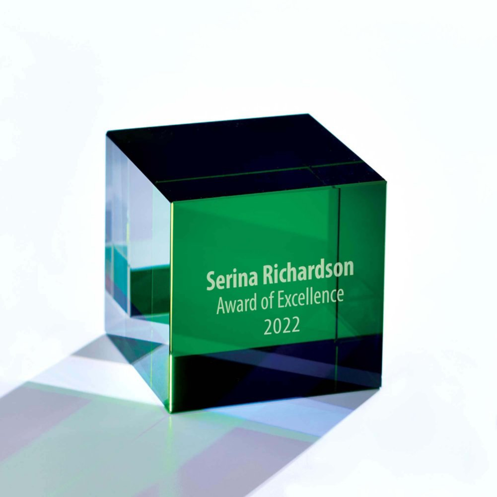 View larger image of Crystal Cube Trophy - Green