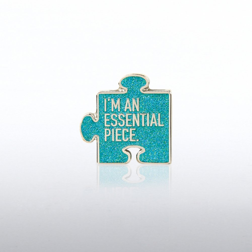 Lapel Pin - I'm an Essential Piece Glitter Puzzle Piece