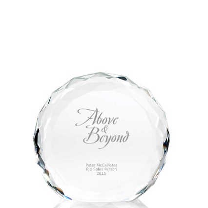 Beveled Round Crystal Trophy Collection: Circle