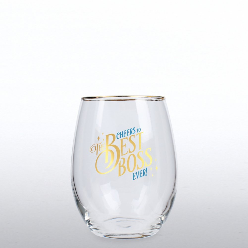 View larger image of Cheers Line - Wine Glass - Cheers to the Best Boss Ever!