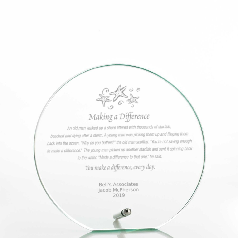 View larger image of Round Glass Award Character Plaque - Jade