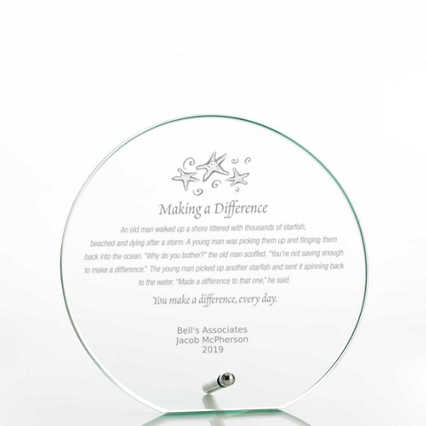 Round Glass Award Character Plaque - Jade