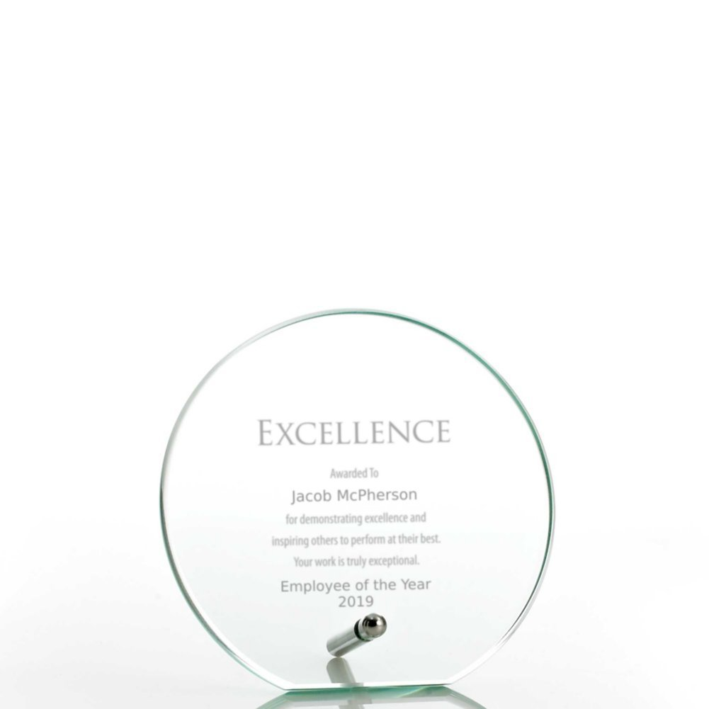 View larger image of Mini Round Glass Award Plaque - Jade