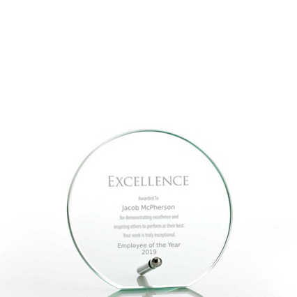 Mini Round Glass Award Plaque - Jade