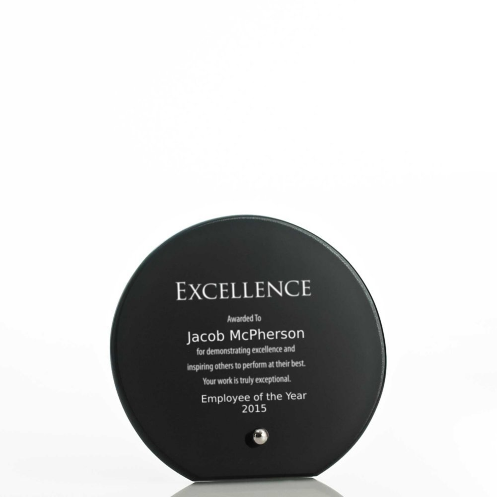 View larger image of Mini Round Glass Award Plaque - Black