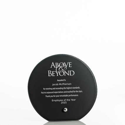 Mini Round Glass Award Plaque - Black