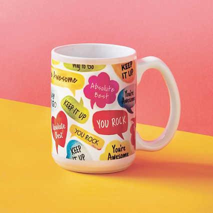 Perk Me Up Ceramic Mug - Speech Bubbles