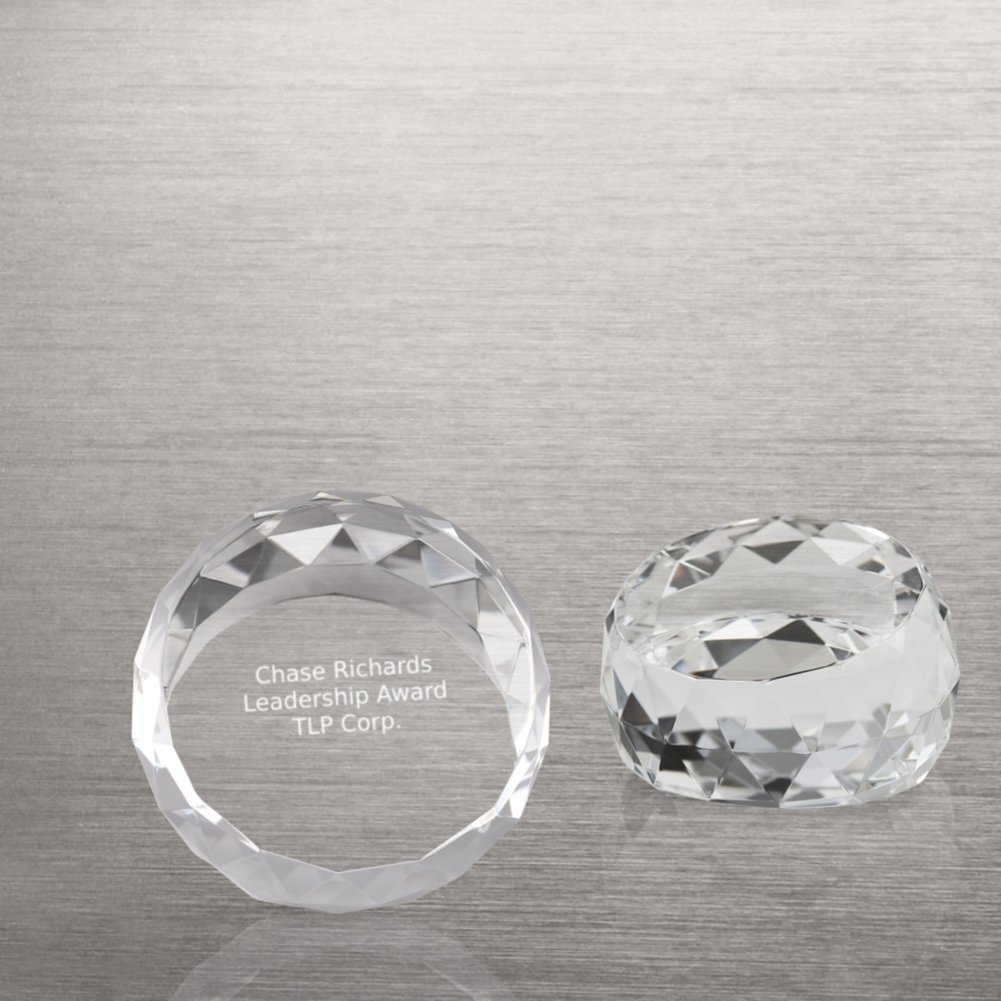 View larger image of Beveled Circle Crystal Collection - Round Paperweight