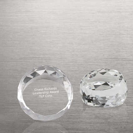 Beveled Circle Crystal Collection - Round Paperweight