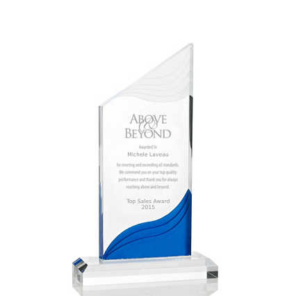 Frosted Blue Shimmer Acrylic Awards - Tower