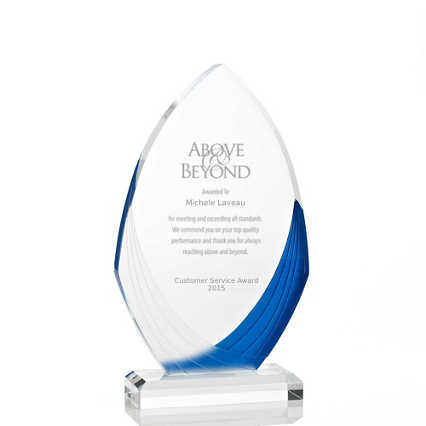 Frosted Blue Shimmer Acrylic Awards - Flame