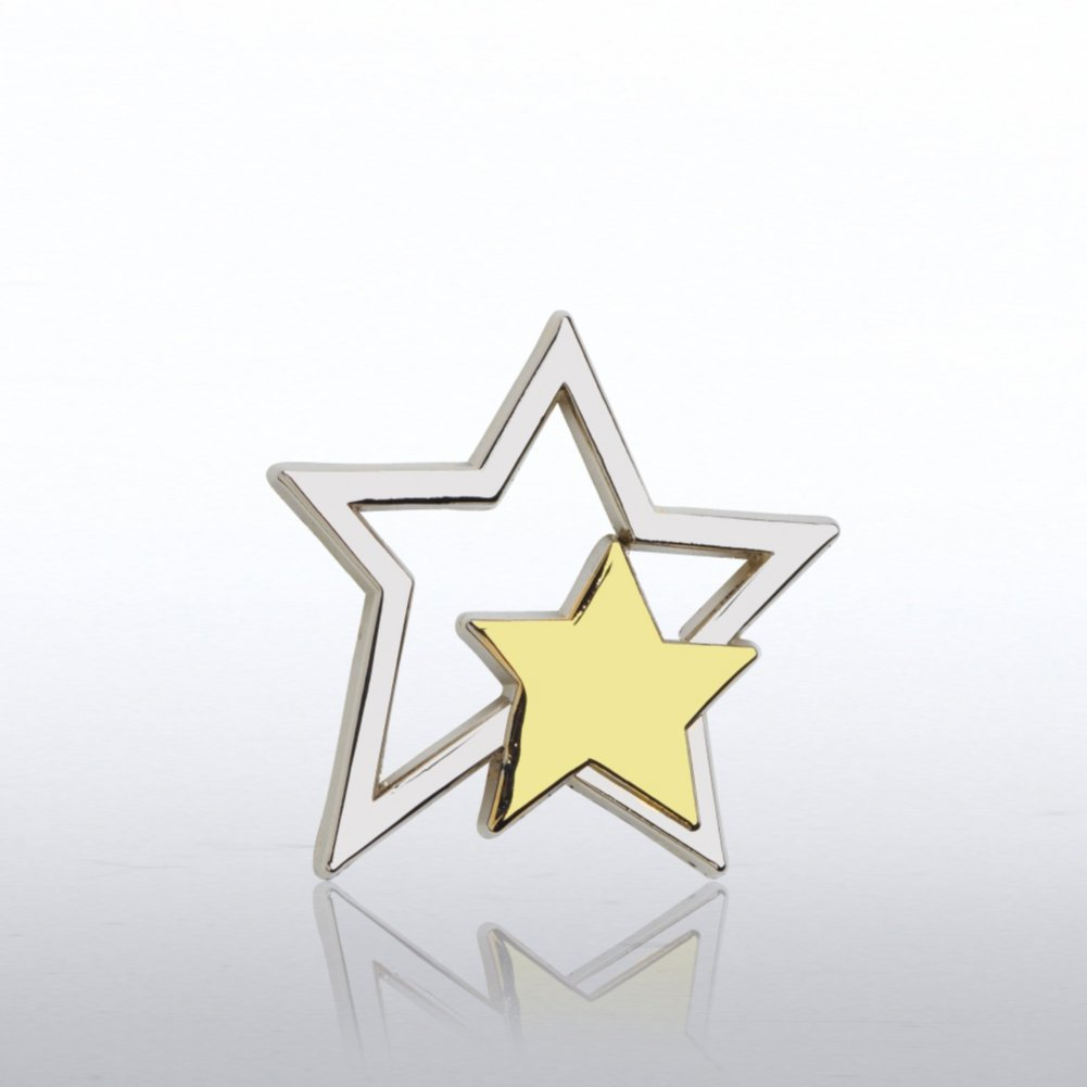 View larger image of Lapel Pin - Silver Star with Gold Star