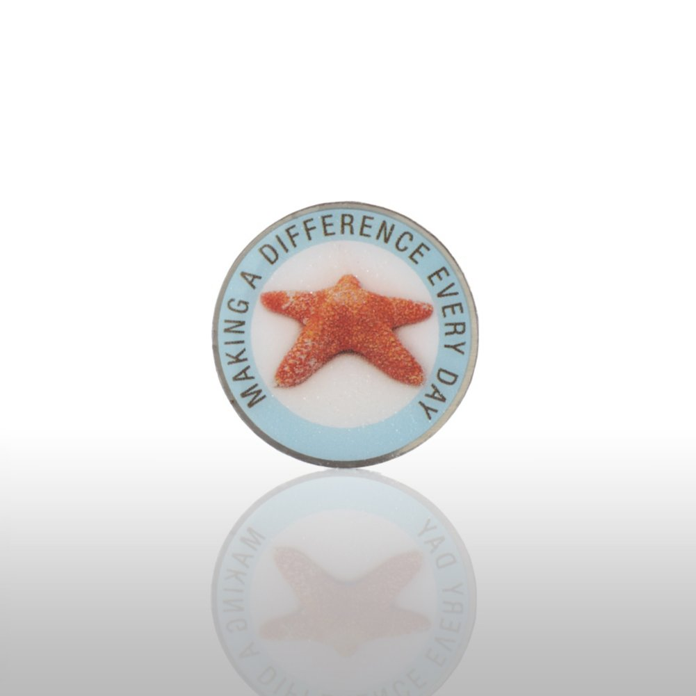 View larger image of Lapel Pin - Starfish: Making A Difference Everyday - Round