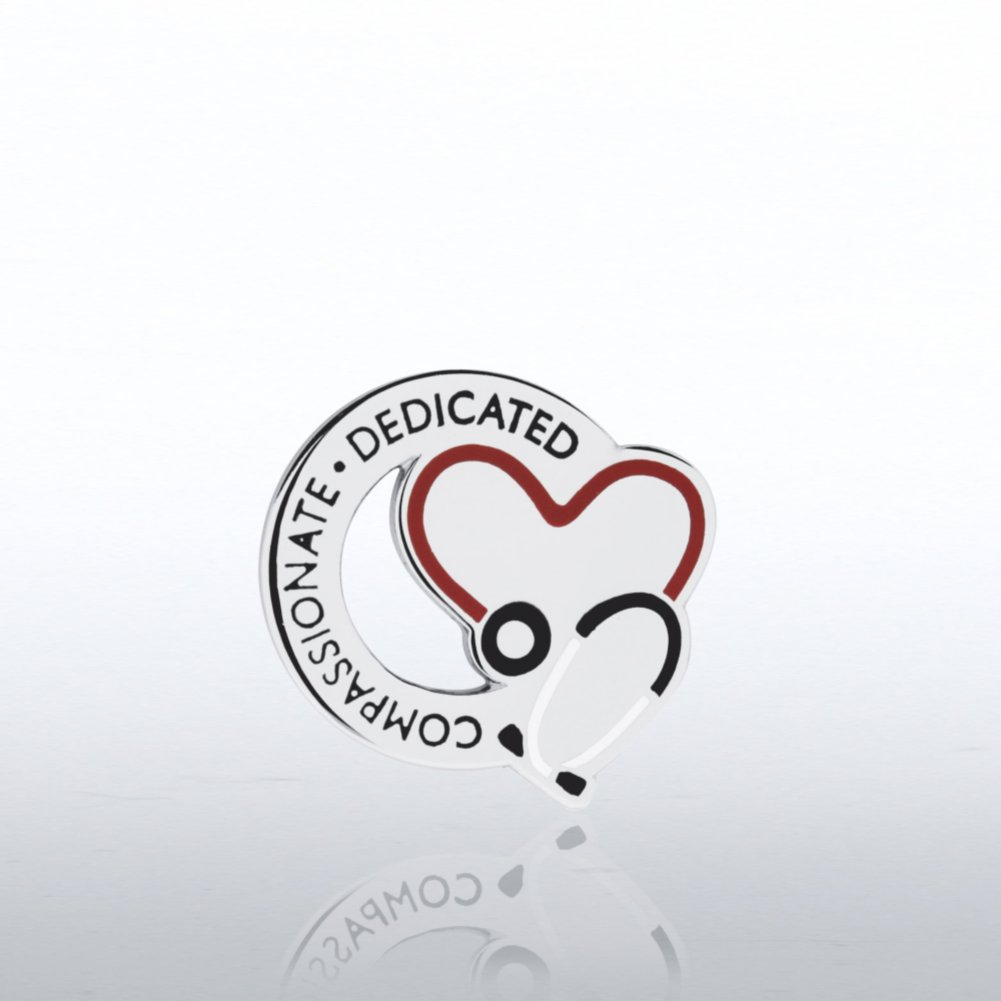 View larger image of Lapel Pin - Stethoscope: Compassionate Dedicated - Round