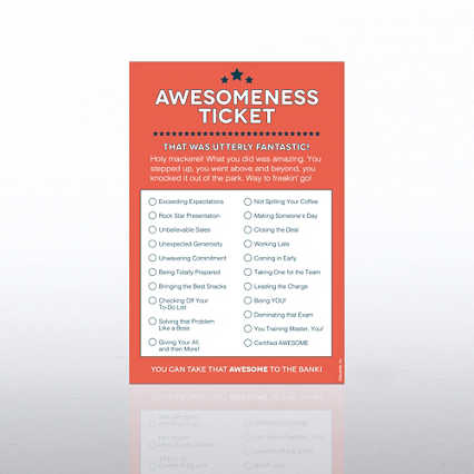 Recognition Ticket Note Pad - Awesomeness