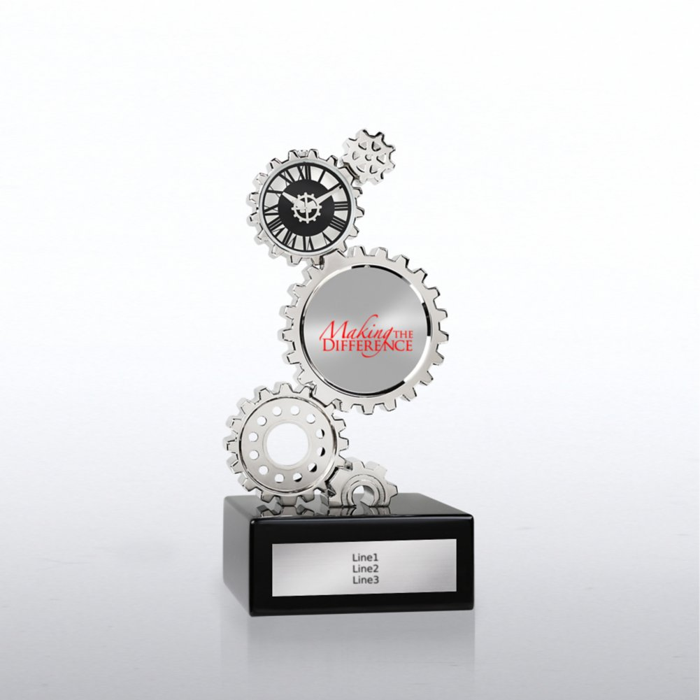 Chrome Gear Award Clock