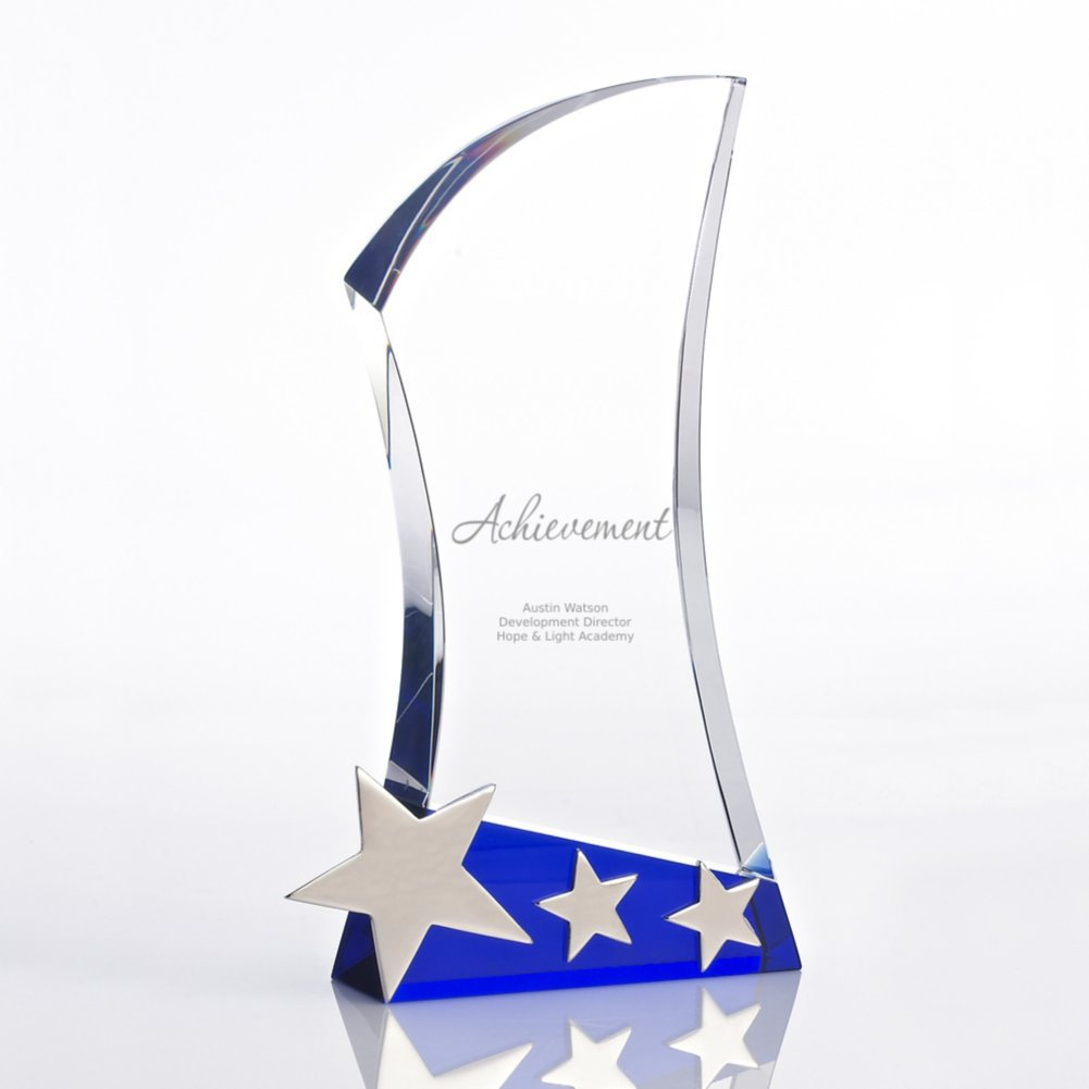 View larger image of Shooting Star Accent Trophy - Blue Crystal with Silver Stars