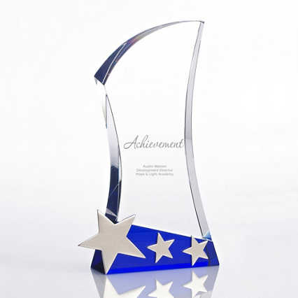 Shooting Star Accent Trophy - Blue Crystal with Silver Stars